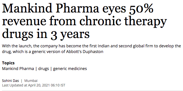 Mankind Pharma eyes 50% revenue from chronic therapy drugs in 3 years